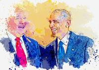 Barack Obama and Donald Trump -  watercolor by Ahm