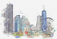 Chicago watercolor by Ahmet Asar