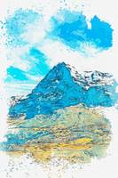 Eiger North Wall, Grindelwald -  watercolor by Ada