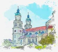 Kempten Baroque St Lorenz Basilica -  watercolor b