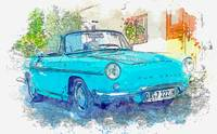 Oldtimer Renault Caravelle Auto -  watercolor by A
