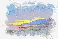 Sunset over Agean Mountain Range -  watercolor by