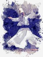 Whirling Dervish 2 -  watercolor by Adam Asar