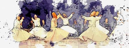 Whirling Dervishes 3 -  watercolor by Adam Asar