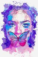 Woman's  butterfly Face -  watercolor by Adam Asar
