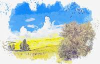 Yellow hill watercolor by Ahmet Asar
