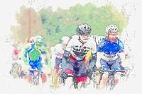 Youth in a cycling race watercolor by Ahmet Asar