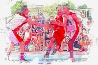 Youth playing Basketball  2 watercolor by Ahmet As