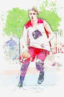Youth playing Basketball 11 watercolor by Ahmet As