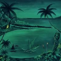 """2 huts lagoonDARKGREEN final7"" by sophista-tiki"