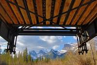 Under a bridge in the Rocky Mountains