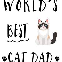 Worlds Best Cat Dad Black & White Art Prints & Posters by miscstudios