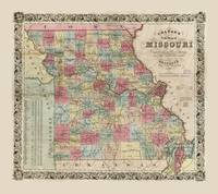 Colton's Map of Missouri (1851)