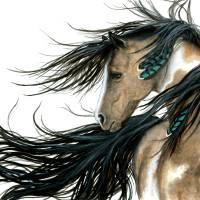 """Turquoise Feathers Horse"" by AmyLynBihrle"