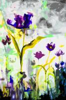 Abstract Tulips Cool Tones Modern Decor Art
