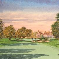 Winged Foot Golf Course 9th Hole And Clubhouse Art Prints & Posters by bill holkham