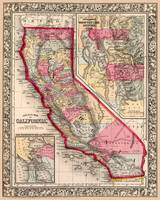 California Counties Map circa 1860