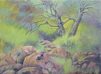 Landscape Painting with Trees and Rocks