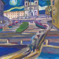 """""""Starry Night Over Spanish Stairs in Rome Italy"""" by arthop77"""
