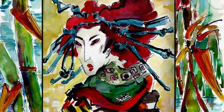 Japanese Woman Bamboo Watercolors