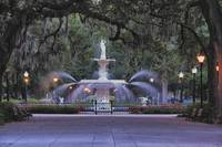 Fountain with Spanish Moss Draped Oak Trees