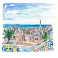 Barcelona Parc Güell Gaudi Dreams And Sea