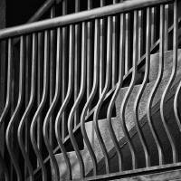 Stair Shadows Black and White by Karen Adams
