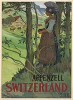 Appenzell, Switzerland Vintage Travel Poster