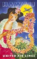 Hawaii, United Airlines Vintage Travel Poster