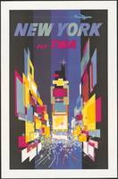 Times Square New York, TWA Vintage Travel Poster