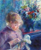 Young Woman Sewing by Renoir