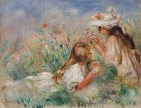 Girls in the Grass Arranging a Bouquet by Renoir