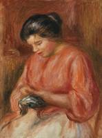 Girl Darning (1909) by Pierre-Auguste Renoir