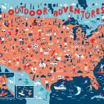 Illustrated Map of USA Outdoors by Nate Padavick Prints & Posters