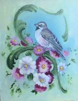 Bird Painting of Sparrow with Flowers and Scrolls