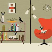 """Mid Century Room with Bookcase and Siamese Cats"" by DMibus"