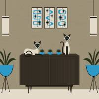 """Mid Century Room with Siamese Cats"" by DMibus"