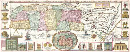 Map of the Holy Land, Israel 1632 Tirinus