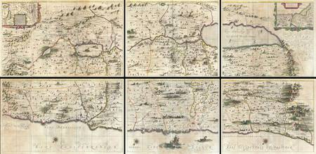 6 Panel Map of the Holy Land 1662 Jansson-Hornius