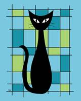 Abstract with Cat in Blue