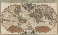 Map of the World Hemisphere Projection 1691 Sanson