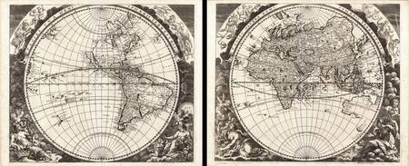 Map of the World in Two Hemispheres 1696 Zahn