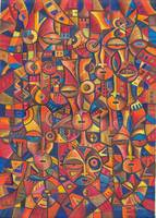 Faces VI an abstract African painting