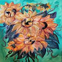 Sunflowers on Teal and Blue Background