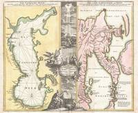 Map of the Caspian Sea & Kamchatka 1725 Homann