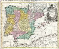 Map of Spain and Portugal 1730 Homann