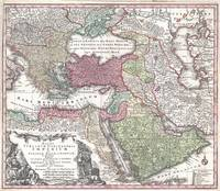 Map of Turkey, Persia and Arabia by Seutter