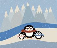 Cute Penguin Family Illustration