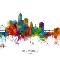 """Des Moines Iowa Skyline"" by ModernArtPrints"