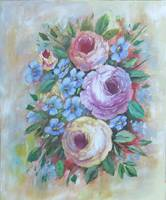 Floral Painting Roses and Blue Blossoms; Flowers